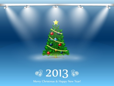 New Year tree 2013 in the light of searchlights Illustration