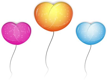 multi-colored balloons on a white background