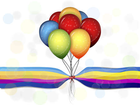 multi-colored balloons on a beautiful background Vector