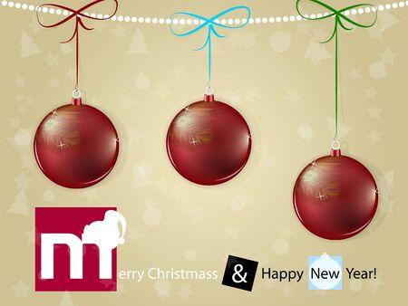 Christmas card with red shine christmas ball