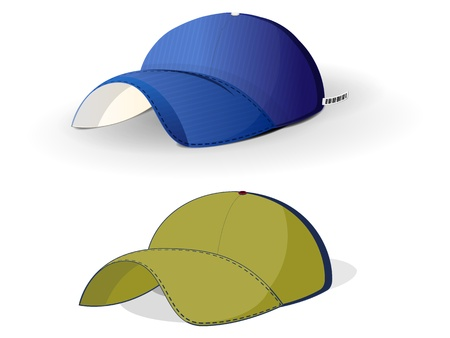 realistic color baseball caps on a white background Illustration