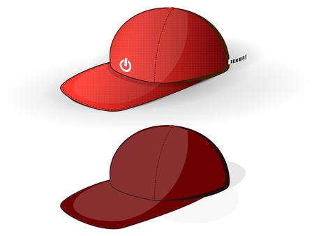 red baseball caps on a white background Illustration