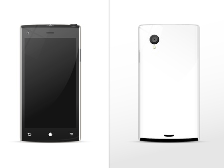 black-and-white smartphone, front and rear