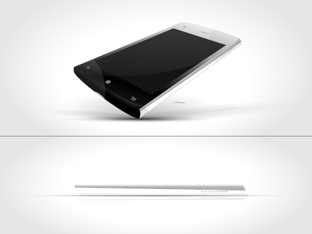 black-and-white smartphone, view from both sides