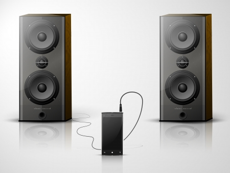 music system from the mobile and two speakers Vector