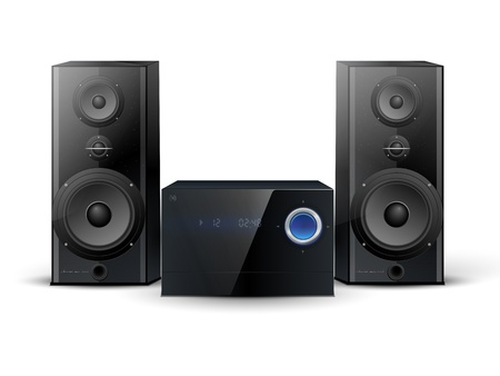 hi-fi stereo system with two speakers Vector