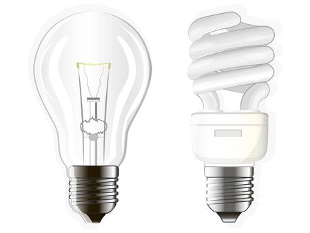 two electric bulbs, incandescent, fluorescent and energy-saving Illustration