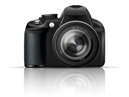 SLR camera on a white background with the reflection of the Vector