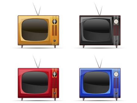 four icons of the old TV sets of different colors on a white background
