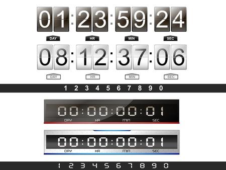 4 cronómetro digital de cuenta atrás Ilustración de vector
