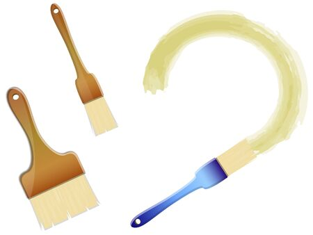 three brushes of different sizes with the smear of the paint