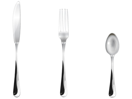 three dining rooms of the device, a tea spoon, a fork, a knife Stock Vector - 18083653