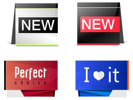 four labels, symbols of new, love and choice Stock Vector - 18083627