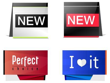 quatre �tiquettes, symboles de la nouvelle, l'amour et le choix Illustration