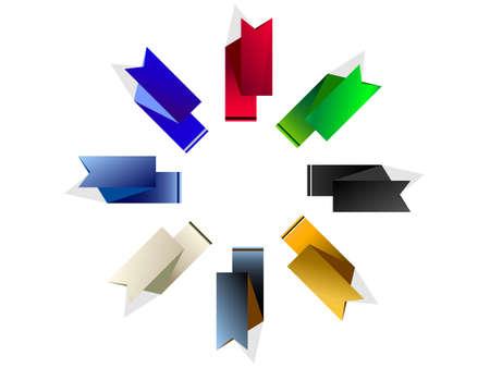 huit drapeaux color�s sur un fond blanc