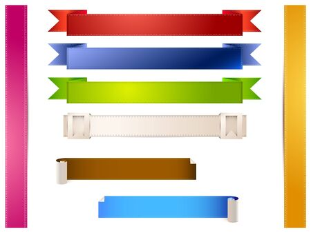 eight colored bands on a white background