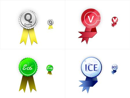 four icons, symbols of quality, ecology, ice and choice Stock Vector - 18103827
