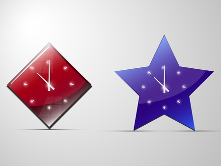 clock in the shape of a star and diamond Stock Vector - 18265821