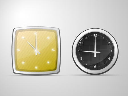 two of the clock, round and square
