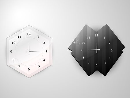 two of the clock of complex shape Illustration
