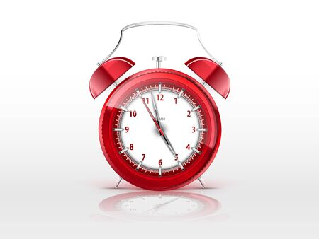 realistic red alarm clock with a reflection on a white background Stock Vector - 18392600