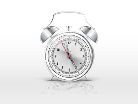 realistic alarm clock with a reflection on a white background Stock Vector - 18655681