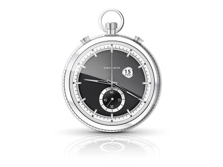 realistic chronometer on a white background. Chrome, brilliant, with the reflection Illustration