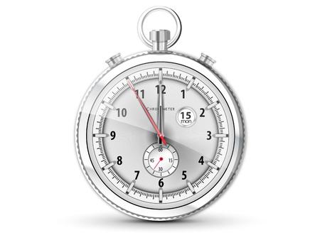 le chronom�tre chrom� r�aliste avec cadran blanc Illustration