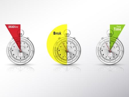 trois chronom�tre, symbolisant les diff�rentes p�riodes de la journ�e de travail