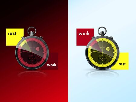 two chronometers, symbolize the rest and work Stock Vector - 18655683