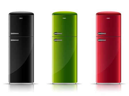 three realistic retro-refrigerator, black, green and red