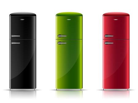 icebox: three realistic retro-refrigerator, black, green and red