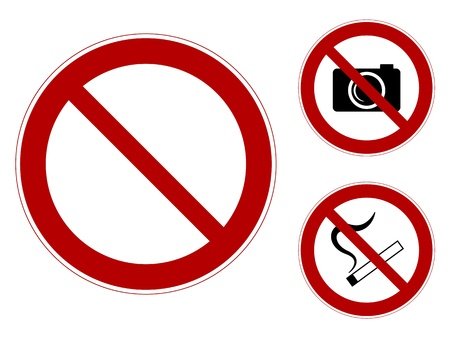 a set of prohibiting signs  template, Smoking, it is forbidden to photograph Illustration