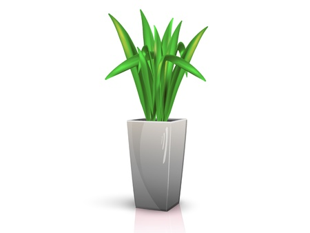 flower in glossy grey pot, realistic, volume with the reflection of the