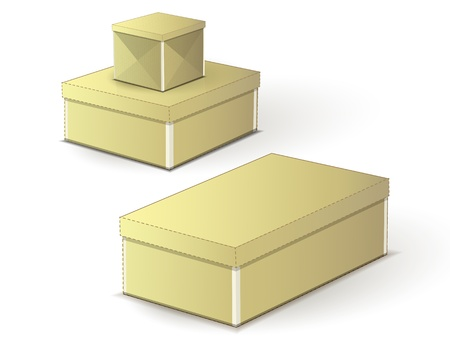 a set of three brown boxes on a white background