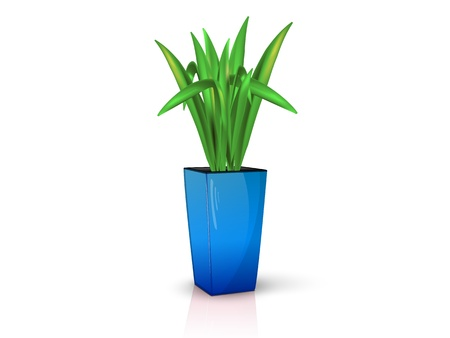 flower in glossy blue pot, realistic, volume with the reflection of the Illustration