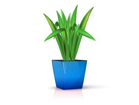 clay pot: flower in glossy blue pot, realistic, volume with the reflection of the Illustration