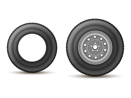 automobile tire with the drive and without the disc on a white background Stock Vector - 19910311