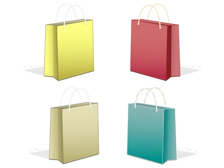set paper bags with handles on a white background Illustration