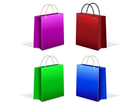 set vibrant paper bags with handles on a white background Stock Vector - 20190057