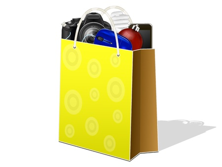 paper bag with electronic devices on a white background