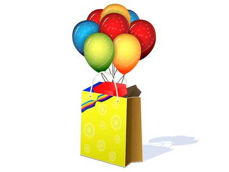 package with gifts and balloons on a white background