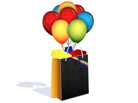 paquet avec des cadeaux et des ballons sur un fond blanc