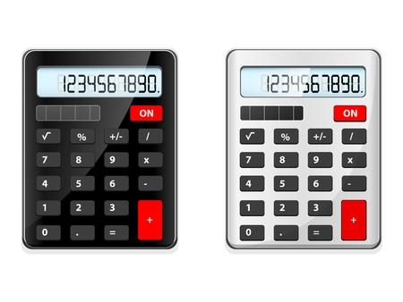 deux calculatrices, noir et argent sur fond blanc