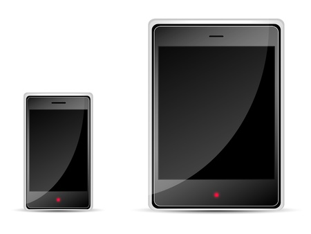 mobile phone and a tablet PC black on white background