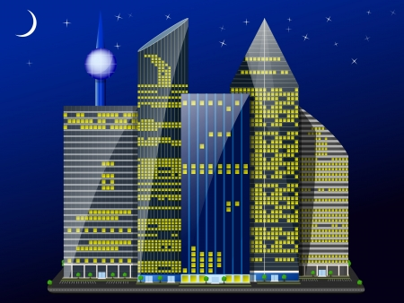 night city of skyscrapers under the shining of the moon and stars
