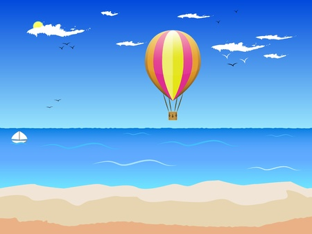 illustration with a Golden sandy beach, the blue sea, the sun, the birds of the air balloon Stock Vector - 20849256