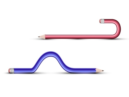 colored pencils curved shapes on a white background
