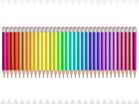 set of pencils of all rainbow colors on a white background