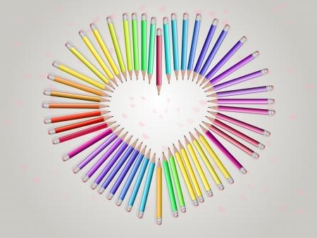 crayons, dispos�es en forme de coeur. L'genre de sommet
